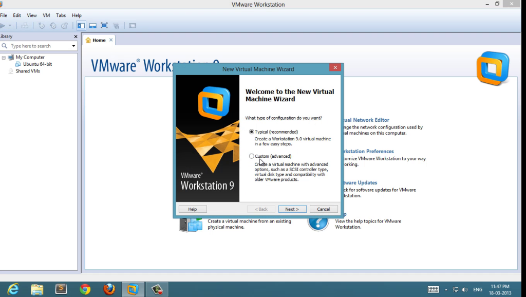 create new virtual machine